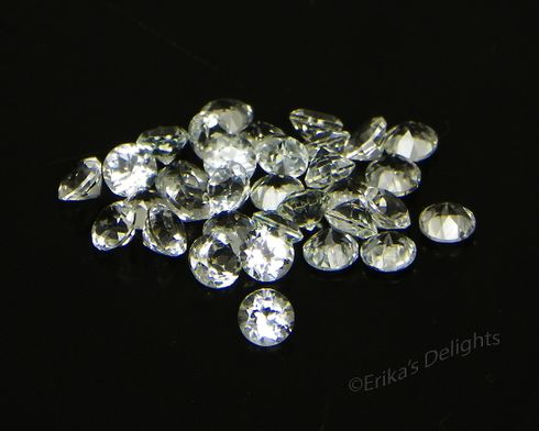 3mm Round White / Clear Natural Topaz 1pc