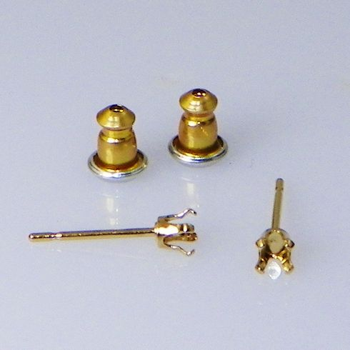 3mm Round Yellow Gold Plated Sterling Silver Snap Tite Earring Settings