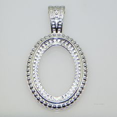 40x30 Oval Silver Plated Rope Style Cabochon (Cab) Pendant Setting