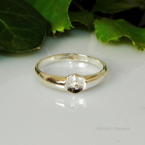 4mm - 8mm Pearl / Bead Sterling Silver Ring Setting (#804)