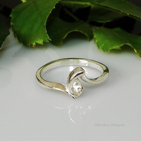 4mm - 8mm Pearl / Bead Sterling Silver Ring Setting (# 802)