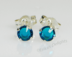 4mm Crystal Zircon Blue Sterling Silver Earrings using Swarovski Elements