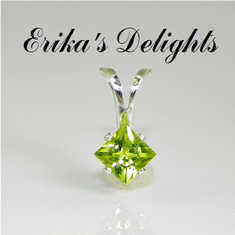 4mm Princess Natural Peridot Sterling Silver Pendant