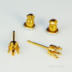 4mm Round 14KT Gold Plated Sterling Silver Snap Tite Earring Settings (6 Prong)