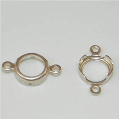 4mm Round 2 Ring 925 SS High Wall Backset Drops 1pc