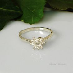 4mm Round Cluster Sterling Silver Pre-Notched Ring Setting