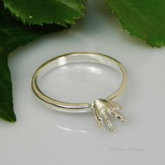 4mm Round Deep Vee 6 Prong Sterling Silver Ring Setting