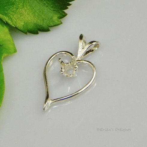 4mm Round Fancy Heart Sterling Silver Pendant Setting