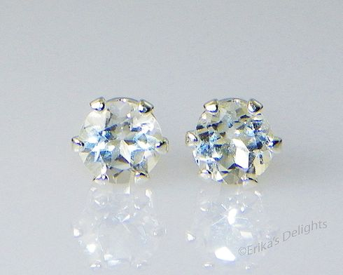 4mm Round Genuine Clear / White Topaz Sterling Silver Earrings