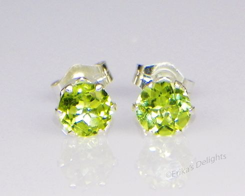 4mm Round Natural Peridot Sterling Silver Earrings