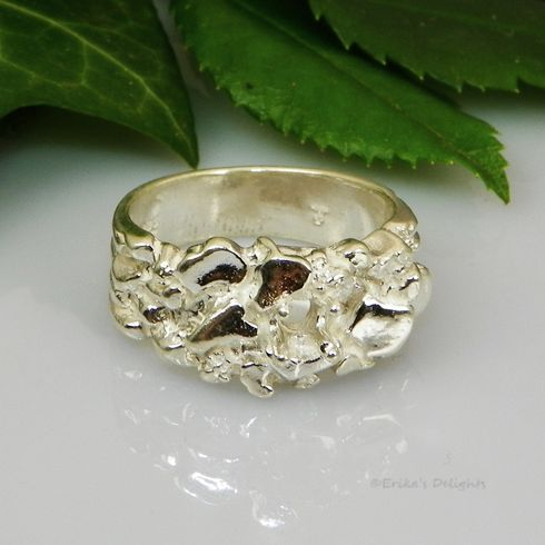 4mm Round Nugget Pre-Notched Sterling Silver Ring Setting