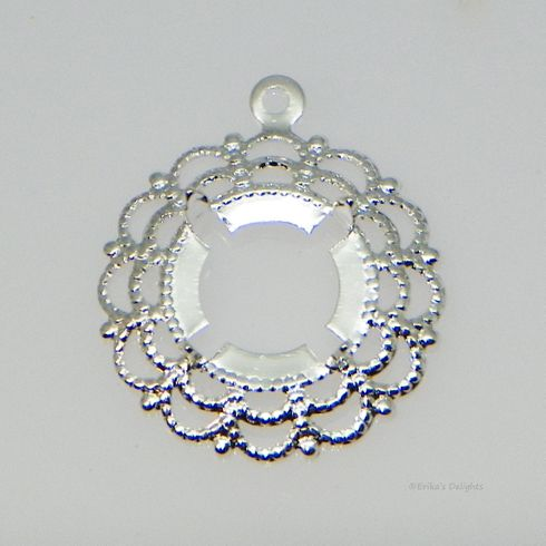 4mm Round Silver Plated Filigree Cabochon (Cab) Dangle Drop Setting