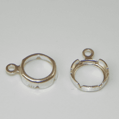 4mm Round Sterling Silver High Wall Backset Drop 1pc