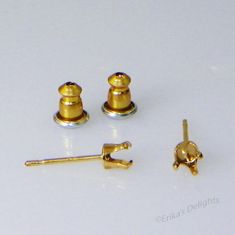 4mm Round Yellow Gold Plated Sterling Silver Snap Tite Earring Settings