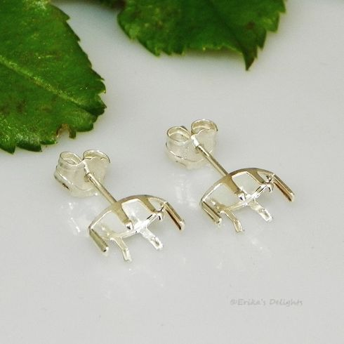 4x2 marquise snap tite sterling silver earring settings