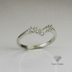 5 Stone 2mm Round Vee Wedding Band Pre-Notched Sterling Silver Ring Setting