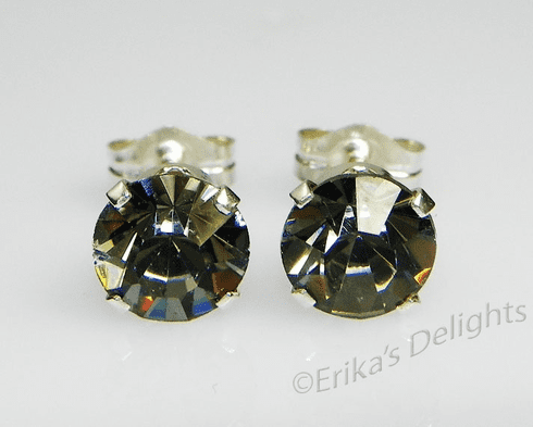 5mm Crystal Black Diamond Sterling Silver Earrings using Swarovski Elements