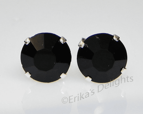 5mm Crystal Jet Black Sterling Silver Earrings using Swarovski Elements