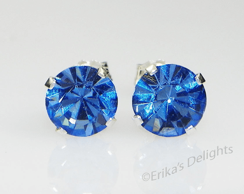 5mm Crystal Light Sapphire Blue Sterling Silver Earrings using Swarovski Elements