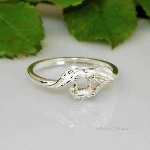 5mm Round 3 Leaf Sterling Silver Pre-Notched Ring Setting