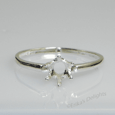 5mm Round 6 Prong Solitaire Sterling Silver Ring Setting