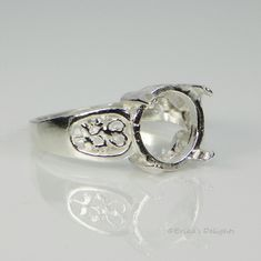 5mm Round Filigree Sterling Silver Pre-Notched Ring Setting