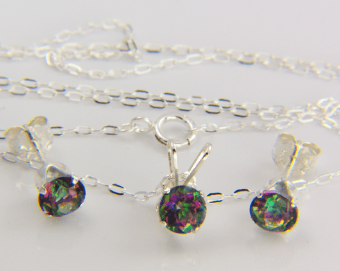 5mm Round Fire Mystic Topaz Sterling Silver Set