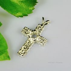 5mm Round Freeform Cross Pre-Notched Sterling Silver Pendant Setting