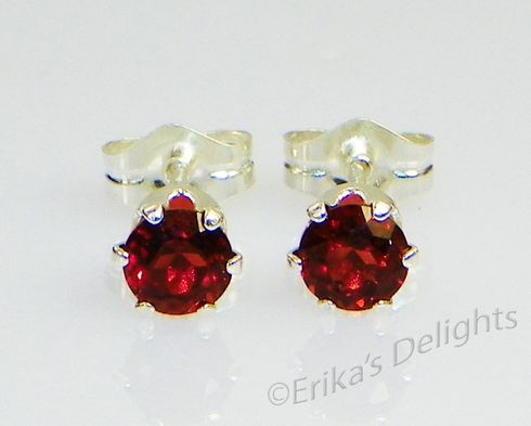 5mm Round Genuine Mozambique Garnet Sterling Silver Earrings