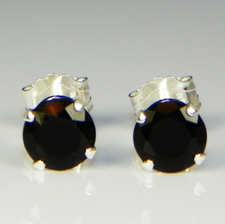 5mm Round Genuine Black Onyx Sterling Silver Earrings