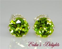 5mm Round Natural Peridot Sterling Silver Earrings