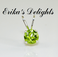 5mm Round Natural Peridot Sterling Silver Pendant