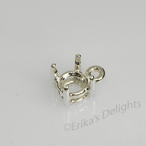 5mm Round Pre-notched Dangle Sterling Silver Setting