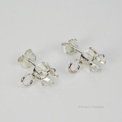5mm Round Sterling Silver Snap Tite Earring Settings with LOOP (6 Prong)