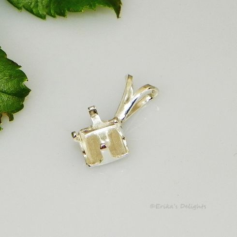 5mm square snap tite sterling silver pendant setting
