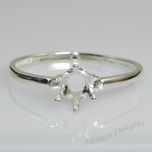 6.5mm Round 6 Prong Solitaire Sterling Silver Ring Setting