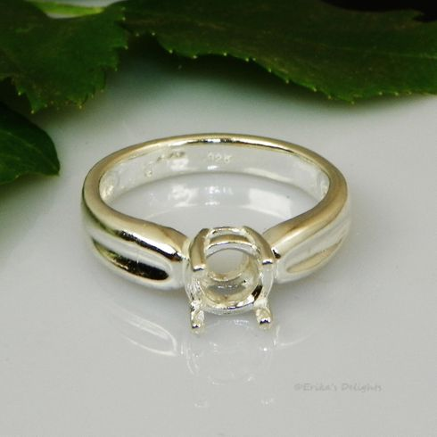 6.5mm Round Endante Pre-Notched Sterling Silver Ring Setting