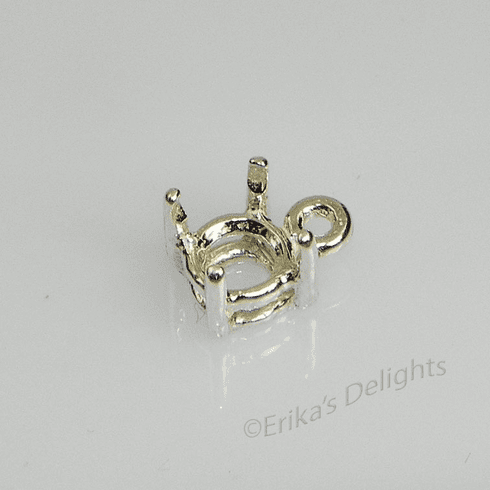 6.5mm Round Pre-notched Dangle Sterling Silver Setting