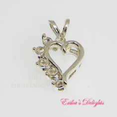 6 Stone Cluster Heart Sterling Silver Pre-notched Pendant Setting