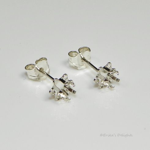6mm Buttercup Round Sterling Silver Snap Tite Earring Settings