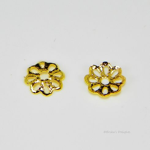 6mm Gold Plated Flower Bead Caps