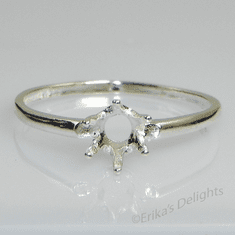 6mm Round 6 Prong Solitaire Sterling Silver Ring Setting
