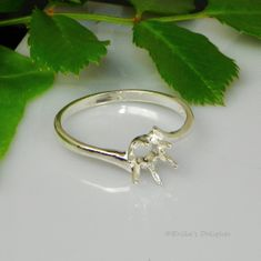6mm Round Bypass Solitaire Sterling Silver Ring Setting