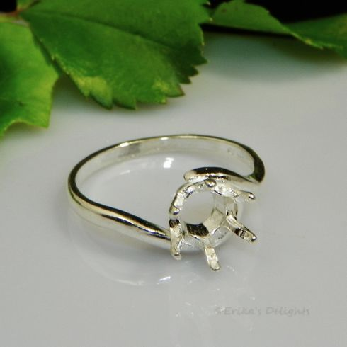 6mm Round Cresent Sterling Silver Ring Setting