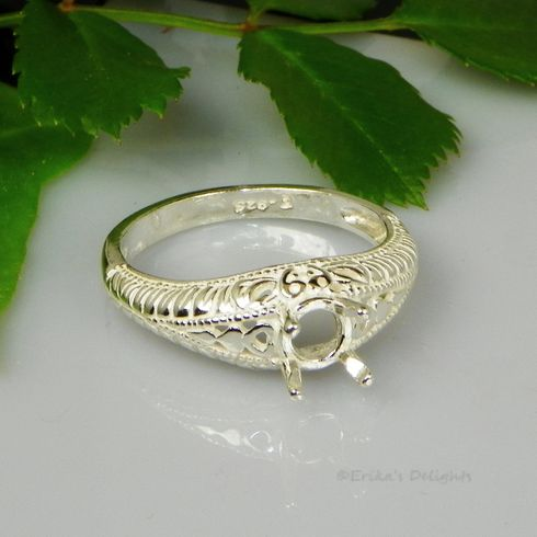 6mm Round Engraved Shank Sterling Silver Ring Setting