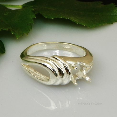 6mm Round Fancy Fashion Swirl Pre-Notched Sterling Silver Ring Setting