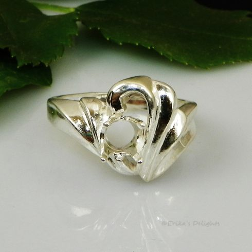 6mm Round Fashion Swirl Sterling Silver Pre-Notched Ring Setting