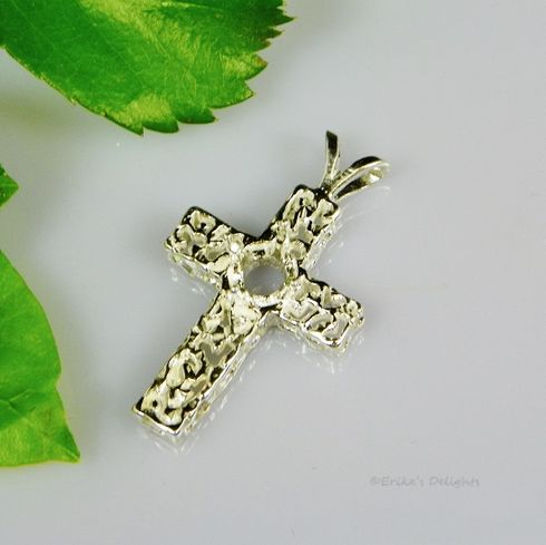 6mm Round Freeform Cross Pre-Notched Sterling Silver Pendant Setting