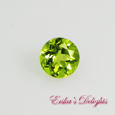 6mm Round Lively Green Natural Peridot .85cts VVS
