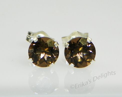 6mm Round Natural Smokey Quartz Sterling Earrings